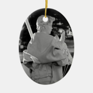 Silent Night Christmas Shepherd Ceramic Oval Ornament
