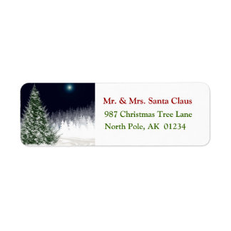 Silent Night Christmas Tree Return Address Label