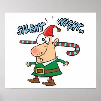 silent night elf ear candy cane stuffed humor print