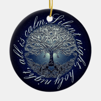Silent Night Holy Night All Is Calm Ceramic Ornament