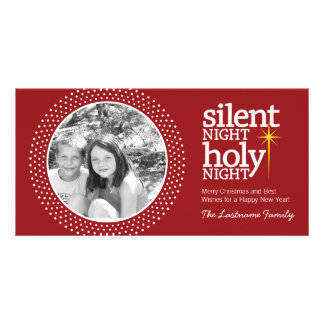 Silent Night, Holy Night Christian Christmas Personalized Photo Card