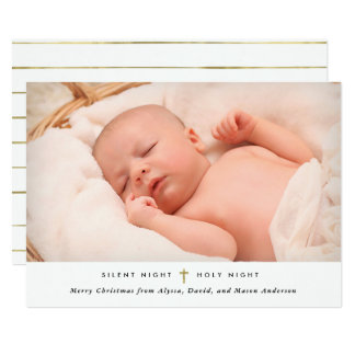 Silent Night, Holy Night | Gold Cross and Photo Card