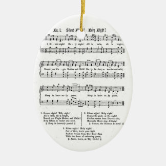 SILENT NIGHT HOLY NIGHT SHEET MUSIC CHRISTMAS SONG CERAMIC OVAL ORNAMENT