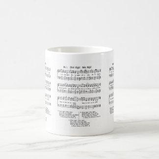 SILENT NIGHT HOLY NIGHT SHEET MUSIC CHRISTMAS SONG CLASSIC WHITE COFFEE MUG