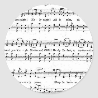 SILENT NIGHT HOLY NIGHT SHEET MUSIC CHRISTMAS SONG ROUND STICKER