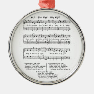 SILENT NIGHT HOLY NIGHT SHEET MUSIC CHRISTMAS SONG Silver-Colored ROUND ORNAMENT