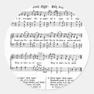 SILENT NIGHT HOLY NIGHT SHEET MUSIC CHRISTMAS SONG ROUND STICKER