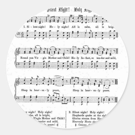 SILENT NIGHT HOLY NIGHT SHEET MUSIC CHRISTMAS SONG ROUND STICKER   Zazzle
