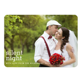 Silent Night Merry Christmas Two Photo Card