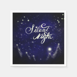 Silent Night - Romantic Winter snow scene Paper Napkins