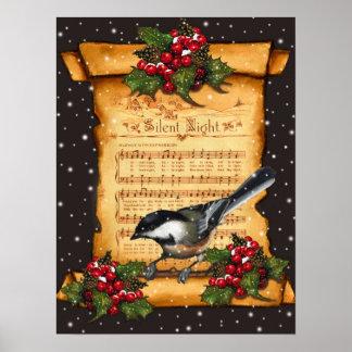 Silent Night Sheet Music, Chickadee, Snow: Art Poster