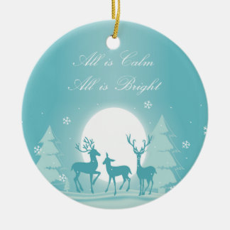 Silent Night Snow & Deer Christmas Tree Ornament
