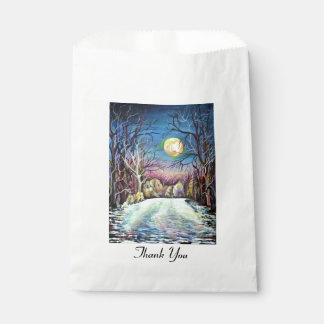 Silent Night Winter Full Moon in Sweden Favour Bag