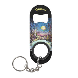 Silent Night Winter Full Moon in Sweden Keychain Bottle Opener