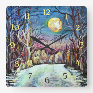 Silent Night Winter Full Moon in Sweden - Numbers Square Wall Clock