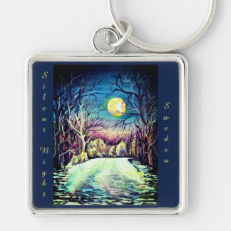 Silent Night Winter Full Moon Keychain