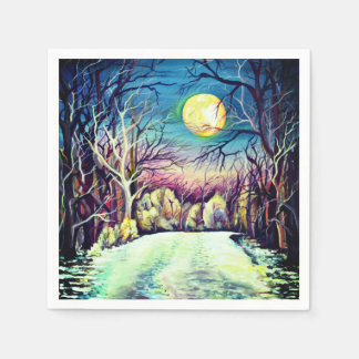 Silent Night Winter Full Moon Napkin