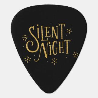 Silent Nights Gold Modern Christmas Typography Guitar Pick
