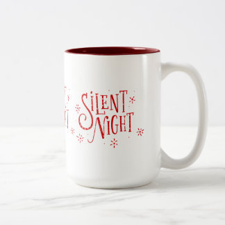 Silent Nights Modern Christmas Typography Two-Tone Coffee Mug