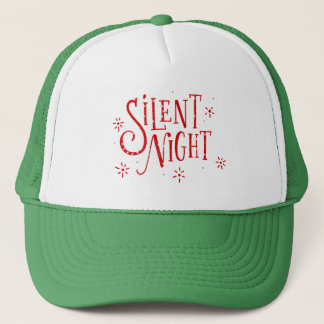 Silent Nights Red Christmas Typography Trucker Hat