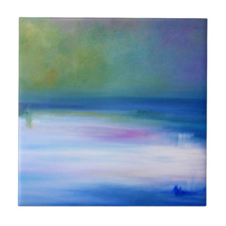 Silent Seas Blue and Green Abstract Ceramic Tile