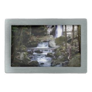 silent stream in forest rectangular belt buckle