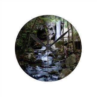 silent stream in forest round clock