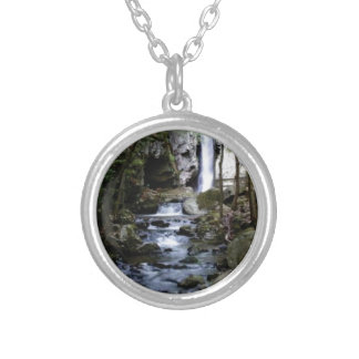 silent stream in forest silver plated necklace