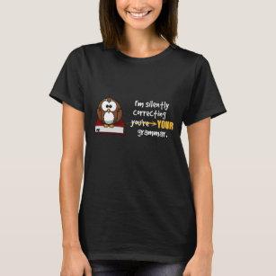 Silently Correcting Your Grammar Sarcastic Owl T-Shirt