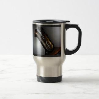 """""""Silently Waiting"""" - Antique Saxophone Travel Mug"""