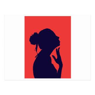 Silhoeta of woman postcard