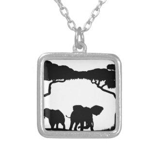 Silhouette African Safari Animal Landscape Scene Silver Plated Necklace