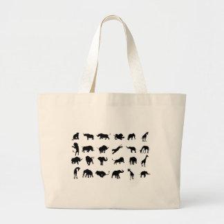 Silhouette African Safari Animal Large Tote Bag
