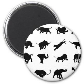 Silhouette African Safari Animal Magnet