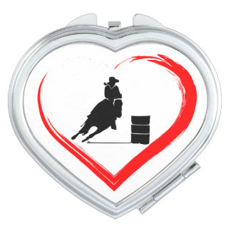 Silhouette Barrel Racing Horse and Red Heart Makeup Mirror