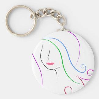 silhouette basic round button keychain