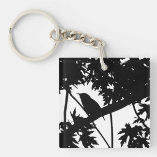 Silhouette Black & White house Wren in Maple Tree Double-Sided Square Acrylic Keychain