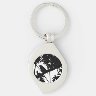 Silhouette Black & White house Wren in Maple Tree Key Chains