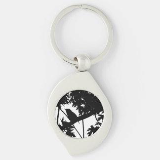 Silhouette Black & White house Wren in Maple Tree Silver-Colored Swirl Keychain