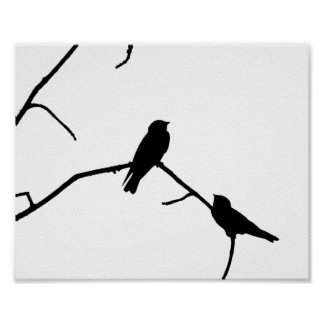 Silhouette Black & White Swallow Pair Poster