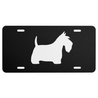 Silhouette blanche de Terrier d'écossais Plaque D'immatriculation