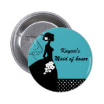 Silhouette Bride Bridal Party Maid of Honour Butto Pinback Buttons