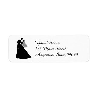Silhouette Bride & Groom Address Label (Black)