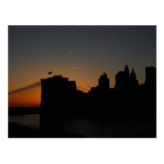 Silhouette Brooklyn Bridge Postcard