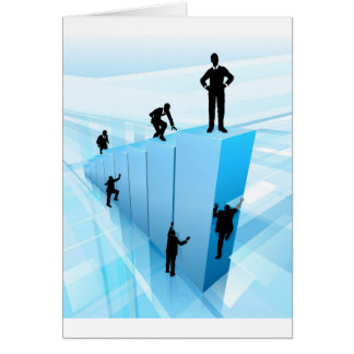 Silhouette Business People Competition Concept Card