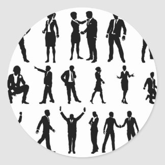 Silhouette Business People Set Classic Round Sticker