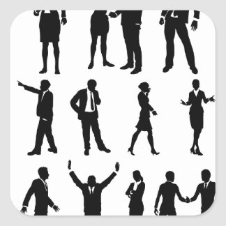 Silhouette Business People Set Square Sticker