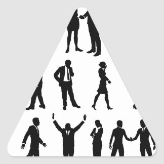 Silhouette Business People Set Triangle Sticker