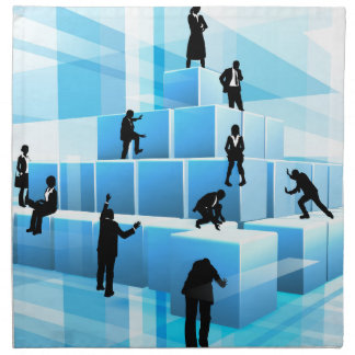 Silhouette Business Team People Building Blocks Napkin