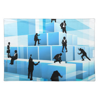 Silhouette Business Team People Building Blocks Placemat